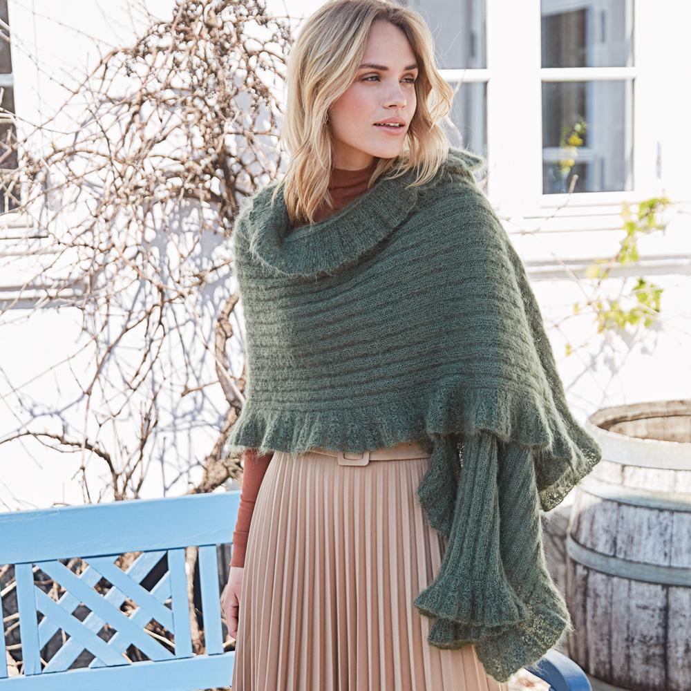 Прямоугольная шаль с рюшами вязание,мода,одежда