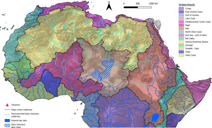 Реконструкция существовавших в Северной Африке основных активных и ископаемых гидрографических бассейнов, выработанных из гидротермальных отложений. /Фото:hydrosheds.org.