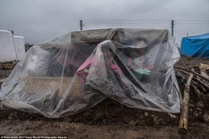 Дети-беженцы из Сирии прячутся от дождя во время транспортировки из турецкого лагеря в мире, дети, жизнь
