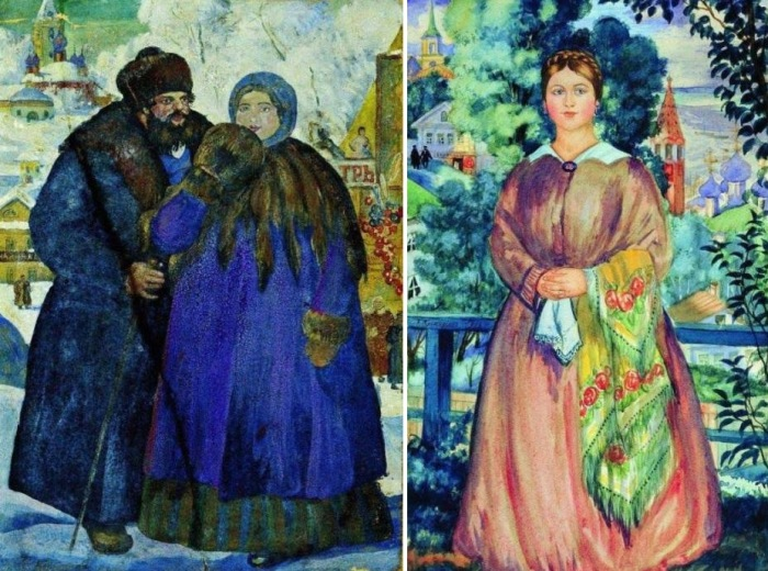 Б. Кустодиев. Слева – *Купец с купчихой*, 1914. Справа – *Купчиха*, 1919