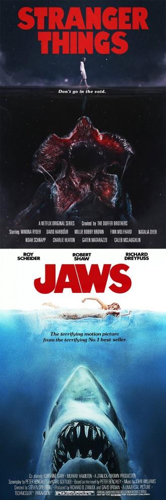 Постеры к сериалу «Очень странные дела» в стиле фильмов ужасов 1970-1980 годов