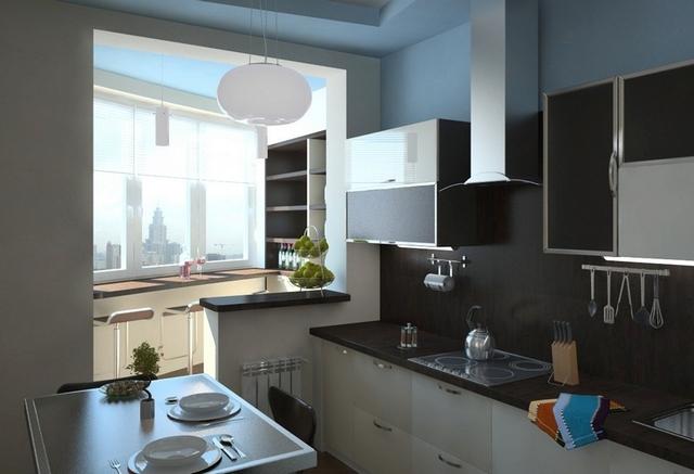 дизайн кухни совмещённой с балконом