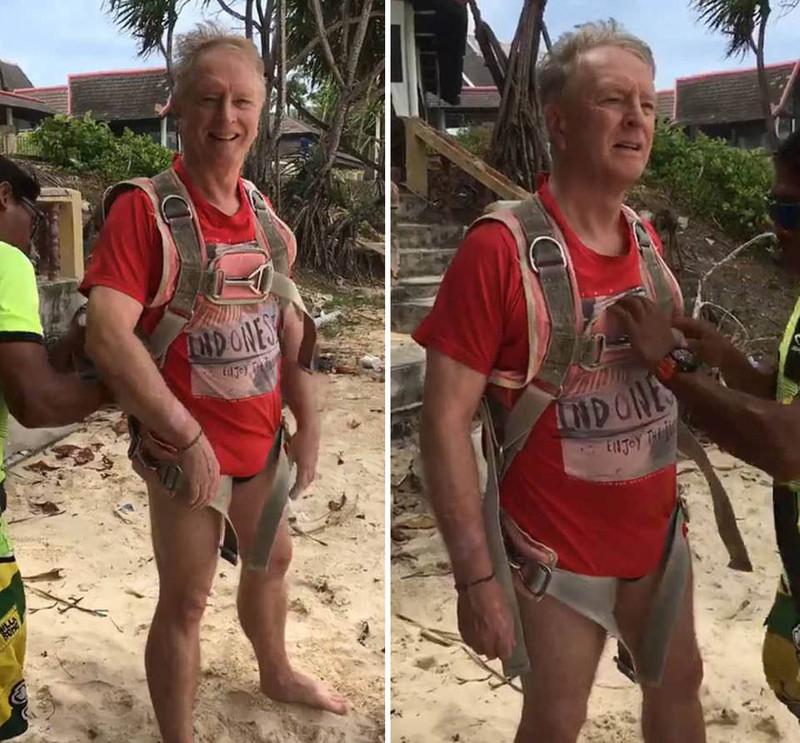 70-летний бизнесмен Роджер Джон Хасси отдыхал на пляже Пхукете вместе с женой. В среду он решил заняться парасейлингом. Весь процесс снимала на камеру его супруга бизнесмен, гибель, парасейлинг, парашют, смерть, таиланд, турист, экстрим