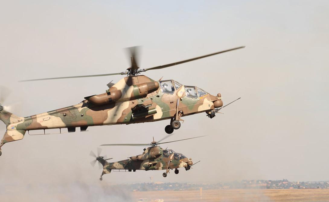 Пустельга Южная Африка Вертолет Denel AH-2 Rooivalk предназначен для ударов по живой силе и технике противника, но также активно используется в качестве машины поддержки и сопровождения. На борту «Пустельга» несет пушку калибром 20 миллиметров, на 6 точек подвески монтируются управляемые ракеты класса «воздух-воздух» и «воздух-земля».