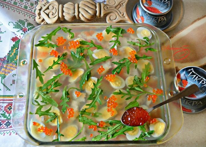 Праздничное заливное с судаком и красной икрой закуски,новогодние рецепты,рыбные блюда