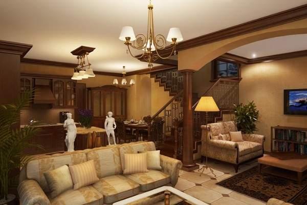 Фото интерьера кухни гостиной в частном доме с лестницей на второй этаж