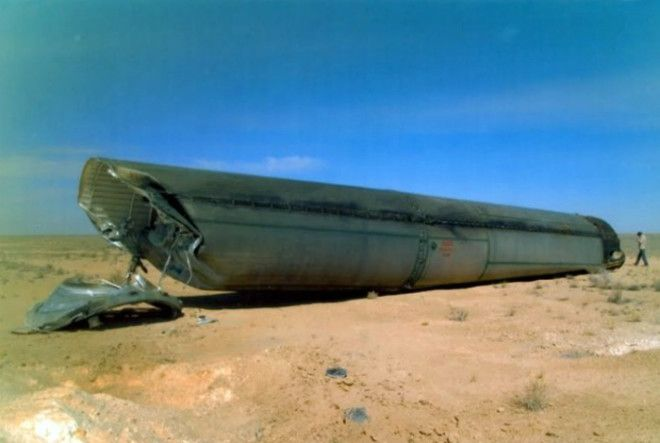 Кусок отработанной ступени ракеты запущенной с Байконура
