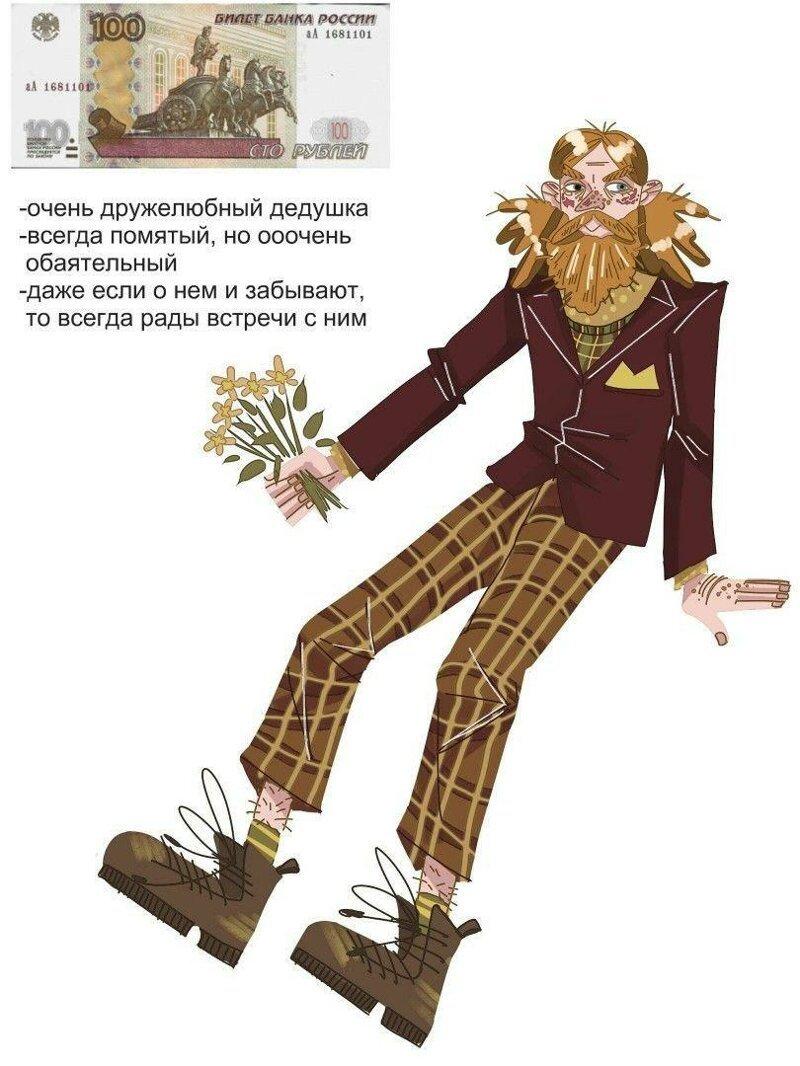 В интернете представили, как выглядели бы купюры российских рублей, превратись они в людей