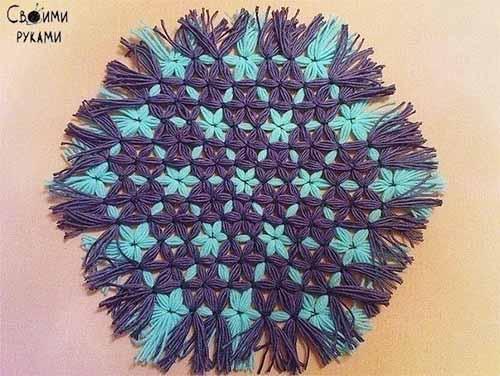 Салфетка из ниток без вязания