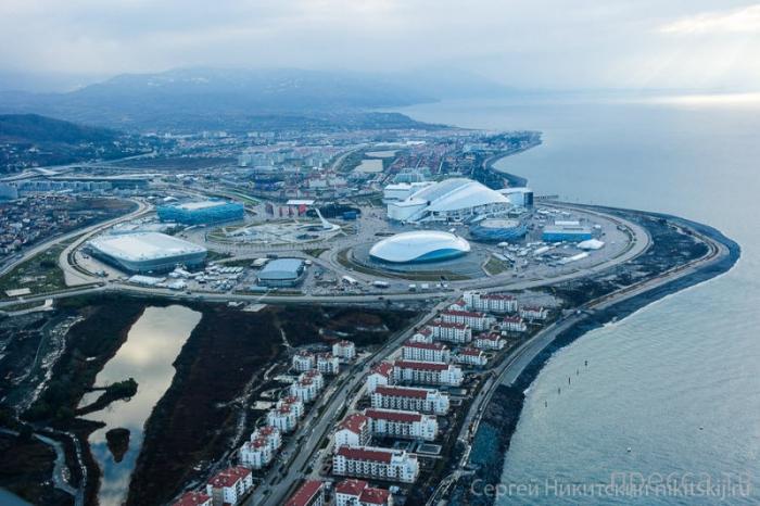 Олимпийские объекты в Сочи с вертолета