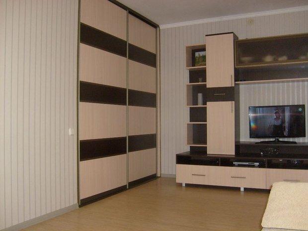Гостиная: вход в комнату - через створку шкафа-купе