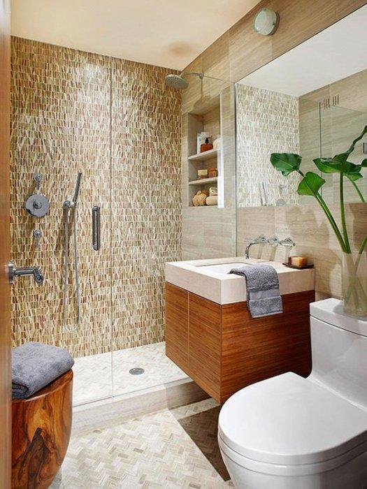 Ванная комната с душевой кабинкой – прекрасный вариант для маленького помещения.