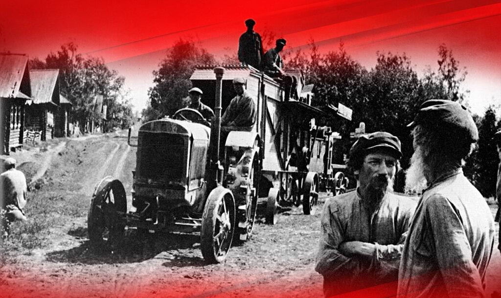 Первый трактор приходит в деревню