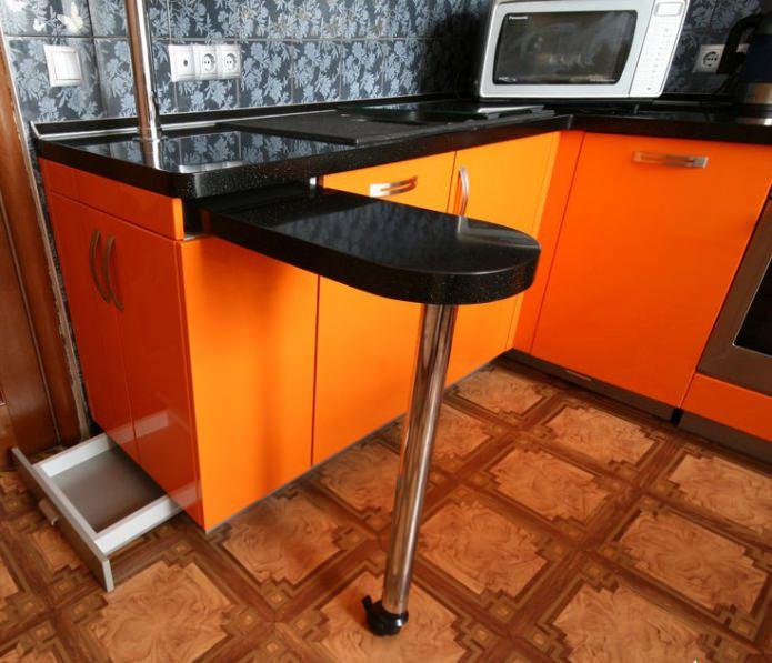 выдвижная барная стойка на маленькой кухне