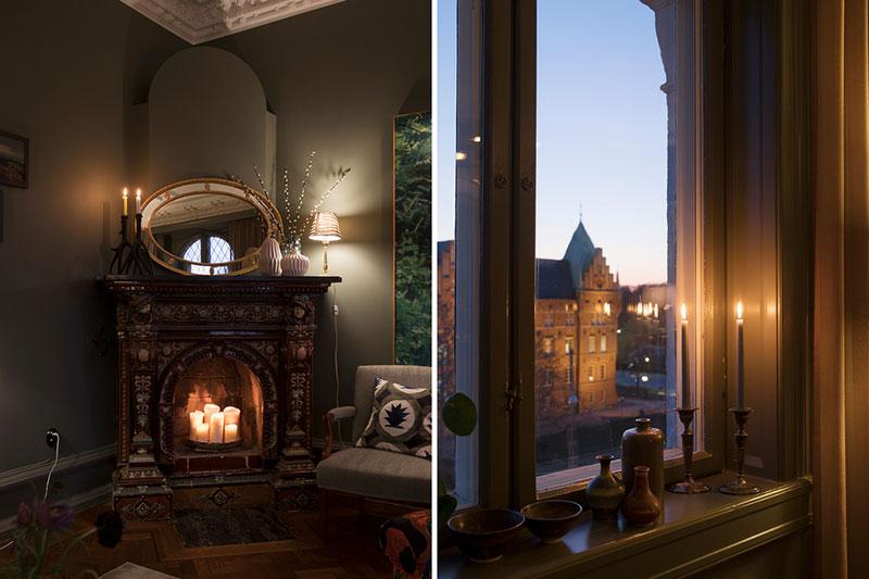 Великолепный традиционный скандинавский интерьер в темных тонах зеленый цвет,интерьер и дизайн,квартира,классика,скандинавский стиль,Стокгольм,Швеция