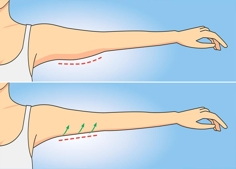 От дряблой кожи на руках: 1 неделя по 1 минуте