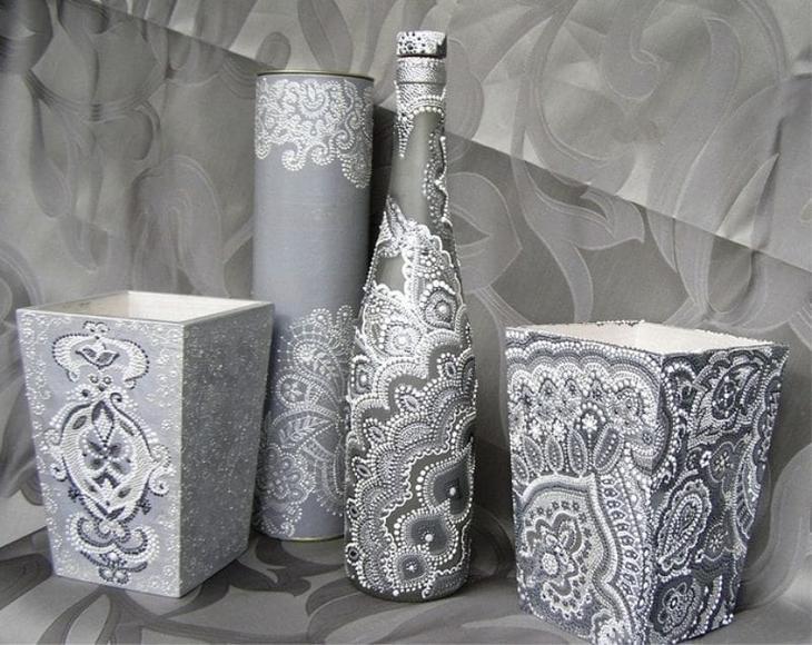 Точечная роспись подарочной бутылки