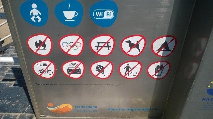 На одном из пляжей Страны Басков, кажется, запрещено абсолютно все, в том числе и Олимпийские игры страны, факты, это интересно