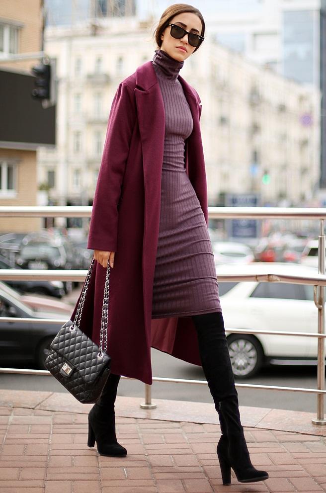 с чем носить вязаное платье мини миди оверсайз и водолазка