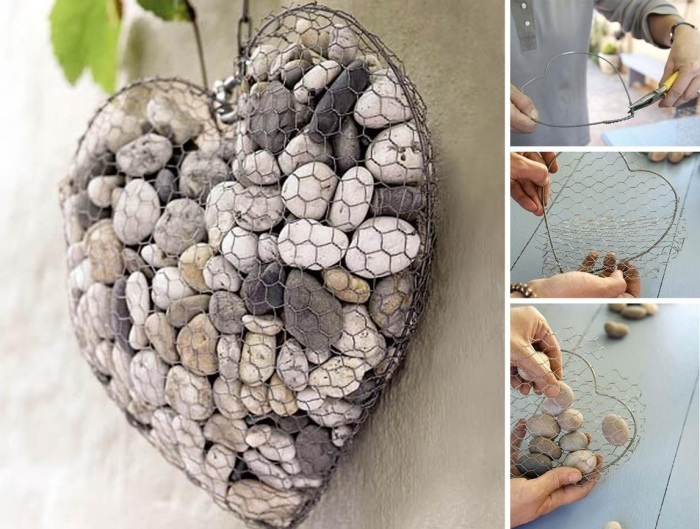 Сердце, которое можно создать своими руками из габионной сетки и речной гальки.