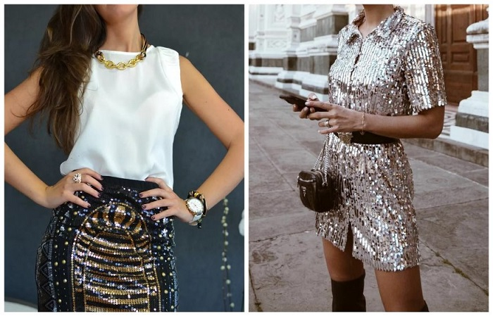 Одежда с блестками и пайетками не всегда выглядит уместно