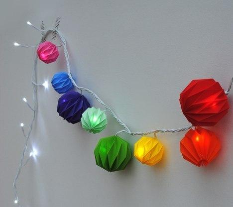 Новогодняя гирлянда из фонариков из бумаги