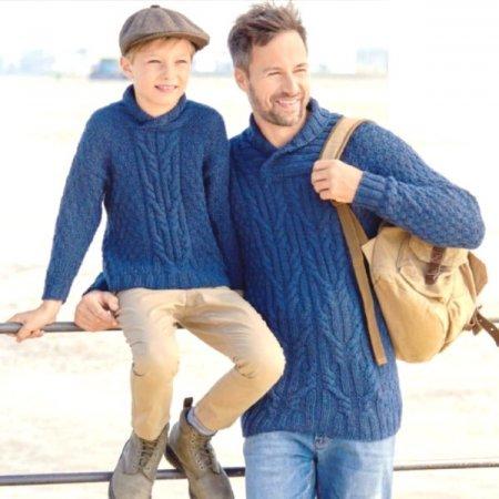 Вязание пуловеров для отца и сына в одном стиле вязание,одежда