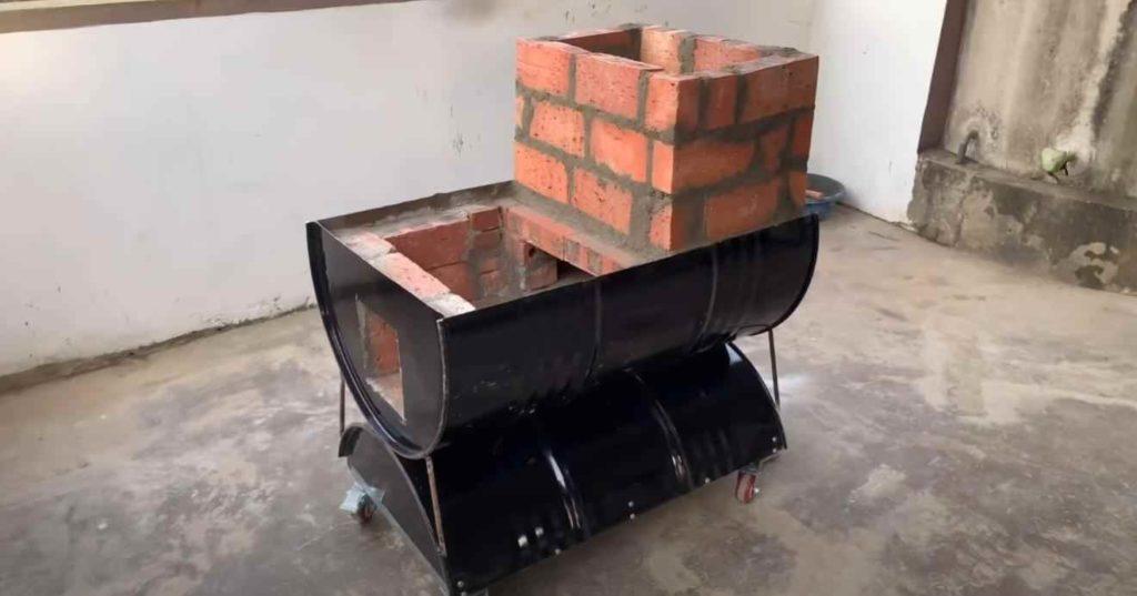 Передвижная печь-барбекю с духовым шкафом