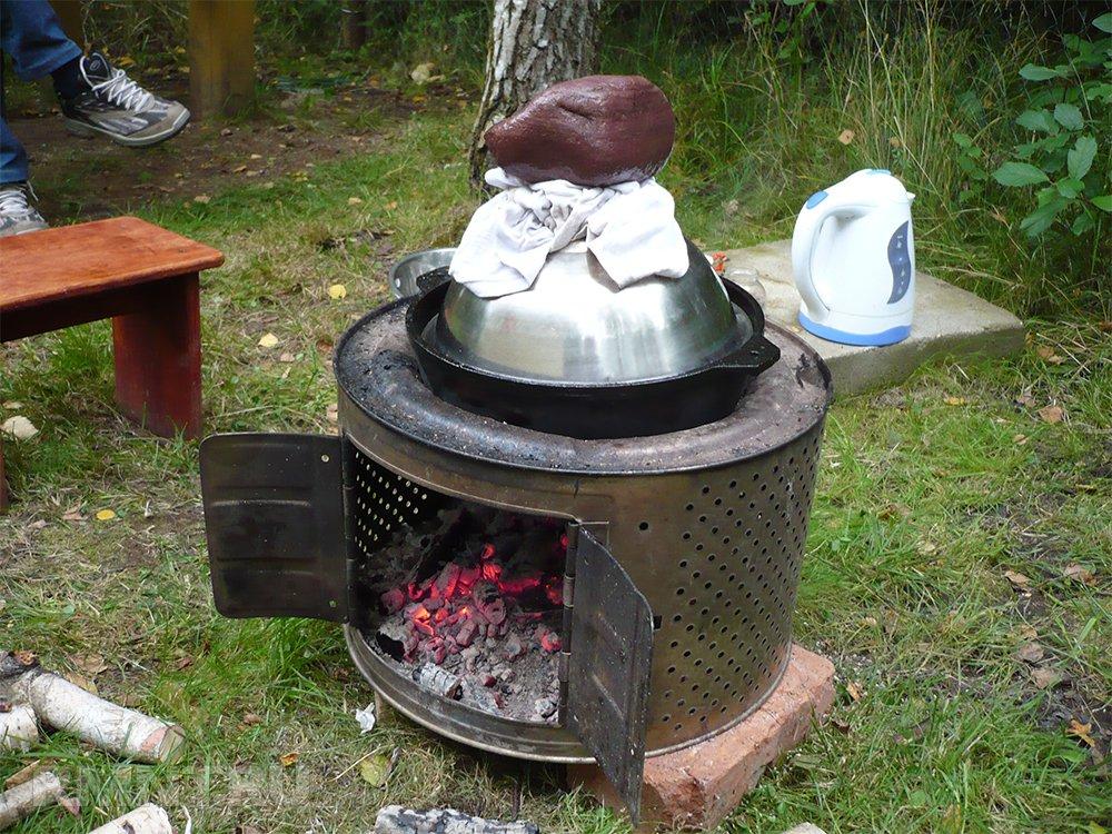 Печь для казана из стиральной машины