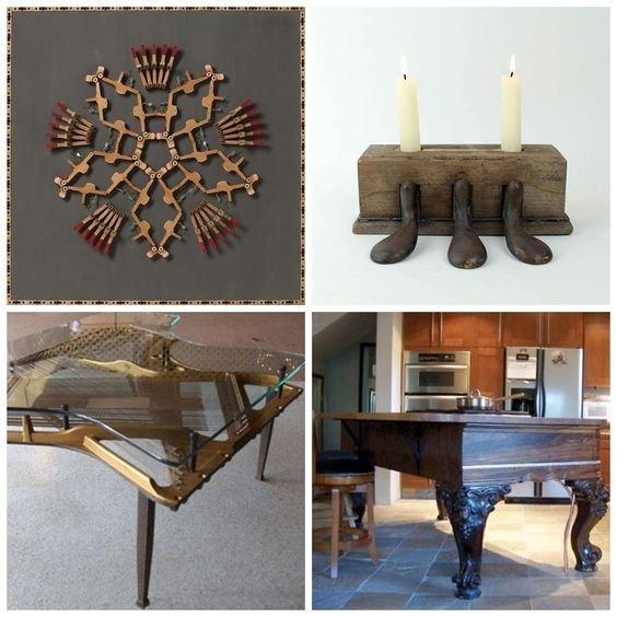 12. Разные предметы из фрагментов рояля Фабрика идей, переделки, пианино и рояли, своими руками