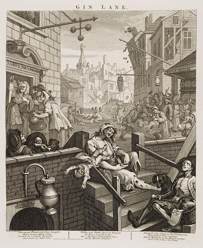 Эпидемия джина: как Лондон чуть не погубил дешевый алкоголь интересное,интересные факты,история,мир,туризм,ужас,факты,шок
