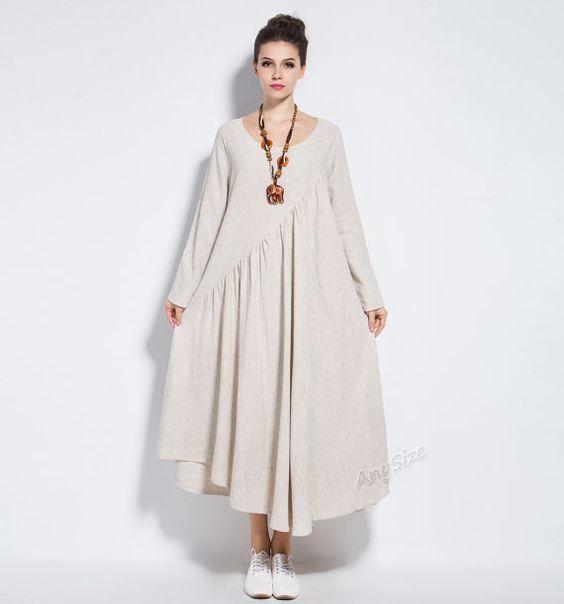 Anysize vogue linen&cotton maxi dress long dress plus by AnySize: