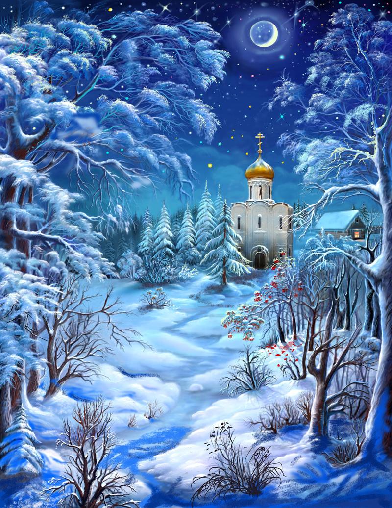 Зимняя ночь в живописи