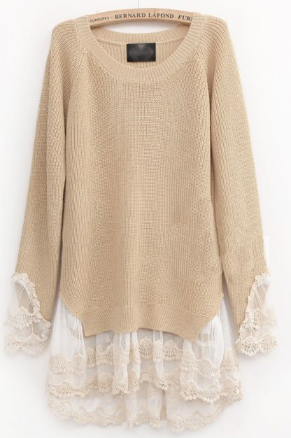 Lace Pullovers Sweater: