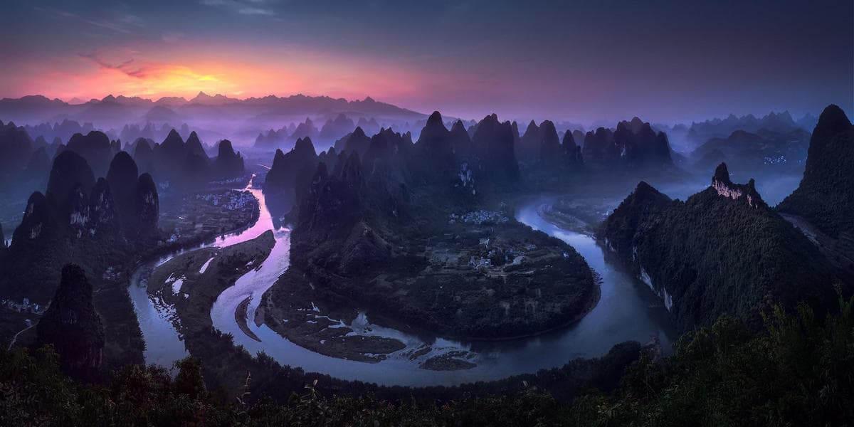 Рассвет в провинции Гуанси в Китае