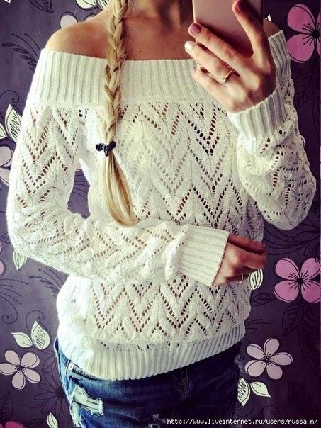 Нежный ажурный пуловер. Узор