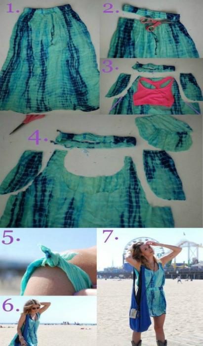 Пляжный сарафан из длинной юбки.