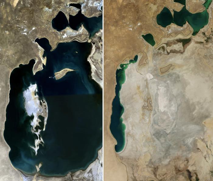 Аральское море в 1989 и 2014 году.