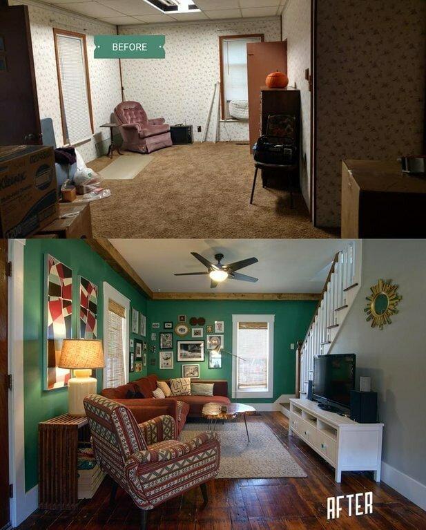 9. Гостиная до и после ремонта было стало, в мире, люди, подборка, сравнение, фото