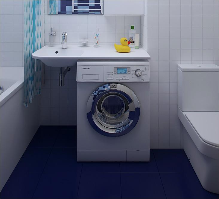Раковина и стиральная машина в нише