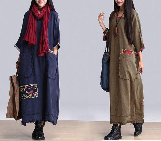 Women Green/Blue Maxi Dresses Patchwork Cotton Linen Robe Loose Fit Long Dresses Plus Size Clothing Autumn Dress For Women(MM023) on Etsy, $68.00: