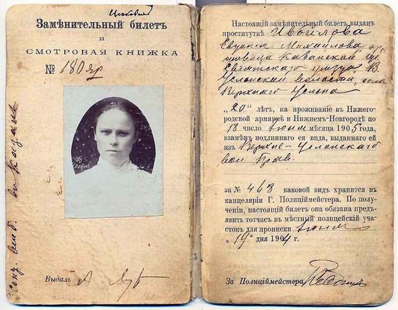 Регистрационный билет нижегородской проститутки. 1904 год история, события, фото