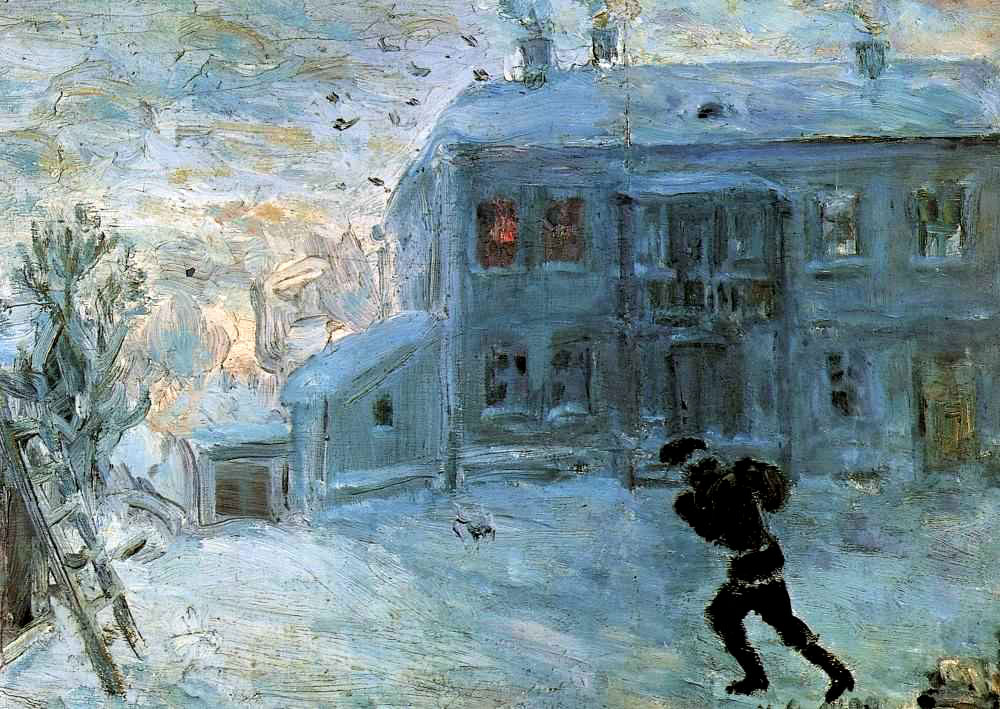Ларионов М.Ф. «Пейзаж под снегом». 1899 г. Из бывшего собрания А.К. Томилиной-Ларионовой. Париж. Франция.