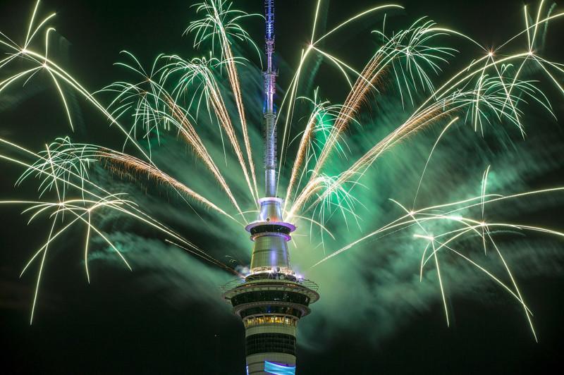 Новый год 2017 в в Окленде, Новая Зеландия. новый год, праздник, салют, фейрверк