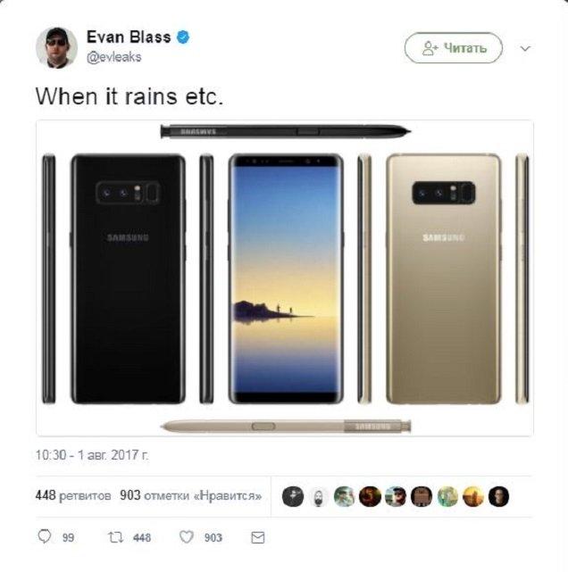 В сеть просочились фотографии нового флагмана Samsung Galaxy Note 8