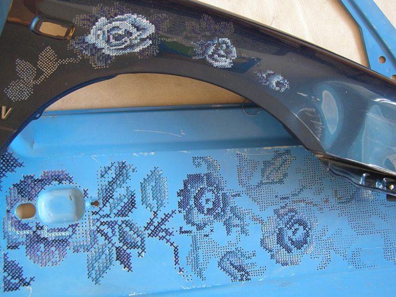 Идеи вышивки на металле попытке, забавно, объектов, классических, украшений, текстилю, несомненно, неожиданно, немного, например, автомобиляПротивопоставление, изображение, окурков, вышитых, консервной, банки, отражение, человека, функциональных, двери