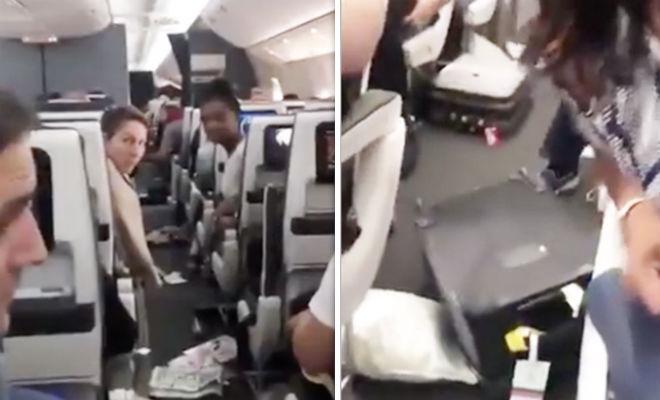 Сверху посыпались чемоданы: пассажиры сняли итоги полета полет,Пространство,самолет,турбулентность