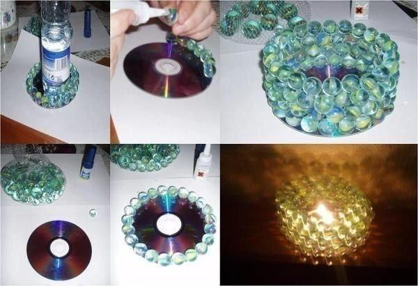 Делаем подсвечник из CD диска 1