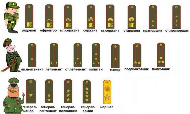 определение военского звания по погонам ряд: