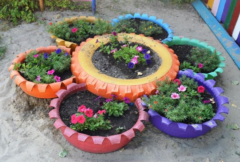 гимнастика цветники из шин и покрышек фото лиса